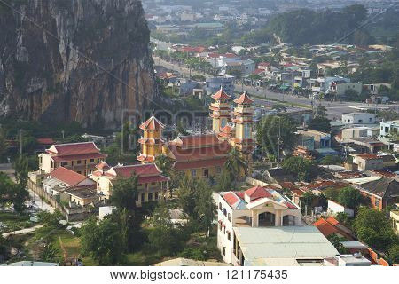 A view of a Buddhist temple Thanh That Trung Son in the Marble Mountains. Da Nang, Vietnam