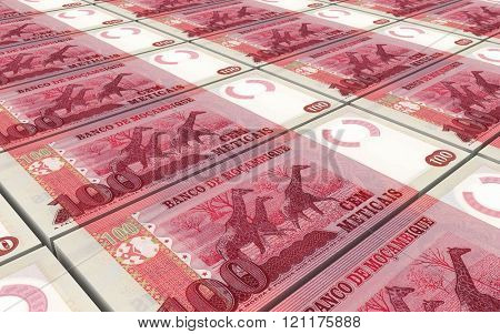 Mozambican escudos bills stacked background. Computer generated 3D photo rendering.