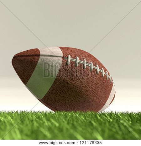 American football ball nfl on the green grass poster