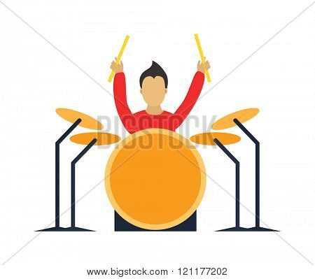 Musician drummer flat illustration. Musician cartoon drummer characters with drumm isolated on white background. Musician drummer people icons. Musician people rock drummer cartoon style.