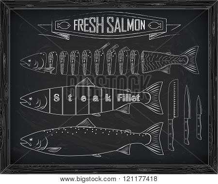 Three Fresh Salmon From The Scheme And Knives