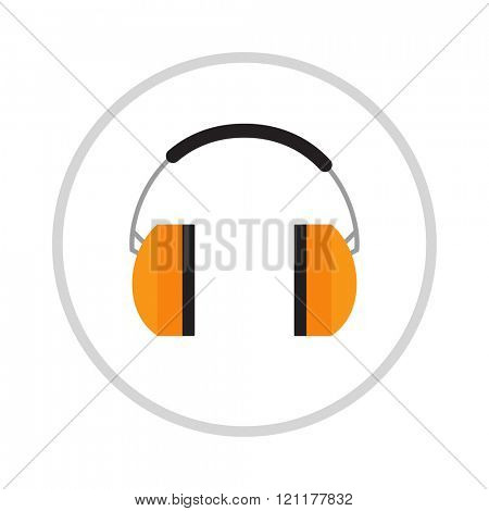 Protective ear vector muffs isolated on a white background. Ear protection, headphones icon. Headphones yellow ear protection. Ear protection work industry vector. Yellow headphones vector.