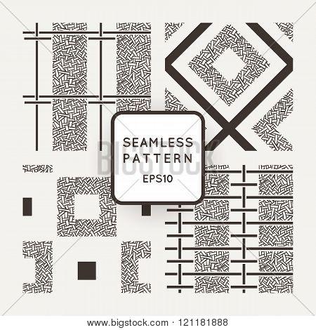 Set of vector seamless patterns of randomly intertwined ribbons