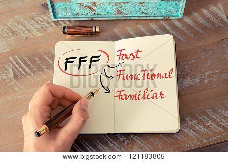 Business Acronym Fff As Fast, Functional, Familiar