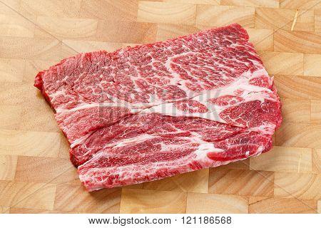 Beef Chuck Steak On Chopping Board