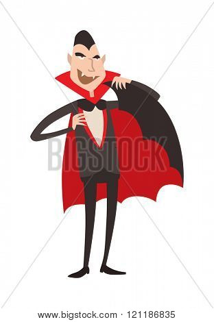 Cartoon Dracula vector. Charming predatory vampire. Cartoon Dracula smiling. Cartoon Dracula laughing. Cartoon vampire funny character, comic Dracula Halloween illustration.