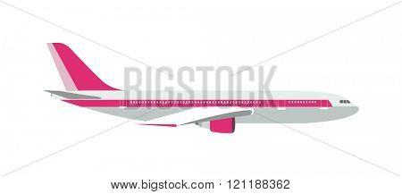 Airplane cartoon vector design. Passenger airplane isolated on white background Flat design style modern vector illustration concept of modern detailed airplane. Plane transportation.