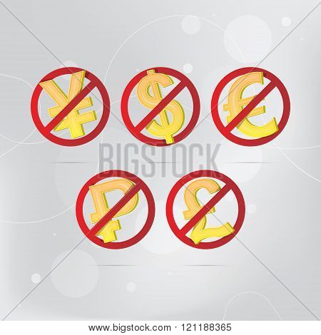 No Money stop vector sign