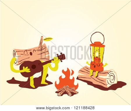 Camping equipment in a fire wood party, campfire with guitar - icon set and info graphics
