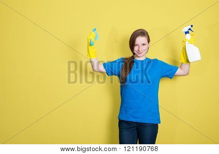 Cleaning Service. Maid Cleaning Woman With Cleaning Spray Bottle. Beautiful Cleaning Girl Isolated O