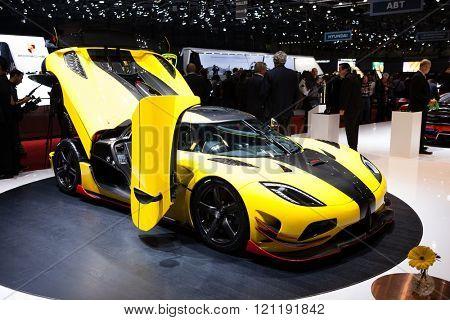 GENEVA, SWITZERLAND - MARCH 1: Geneva Motor Show on March 1, 2016 in Geneva, Koenigsegg Agera ML, side-front view