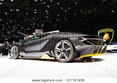 GENEVA, SWITZERLAND - MARCH 1: Geneva Motor Show on March 1, 2016 in Geneva, Lamborghini Centenario, rear-side view