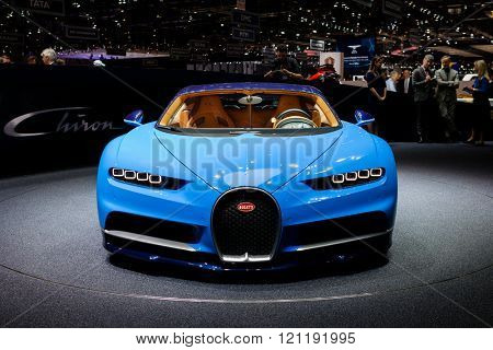 GENEVA, SWITZERLAND - MARCH 1: Geneva Motor Show on March 1, 2016 in Geneva, Bugatti Chiron, front view