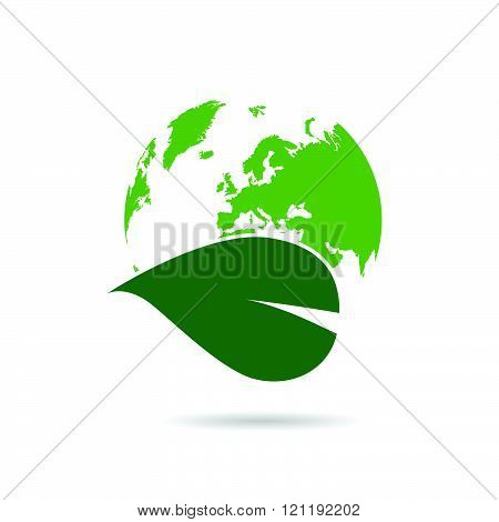 Planet Earth Green With Plant Illustration