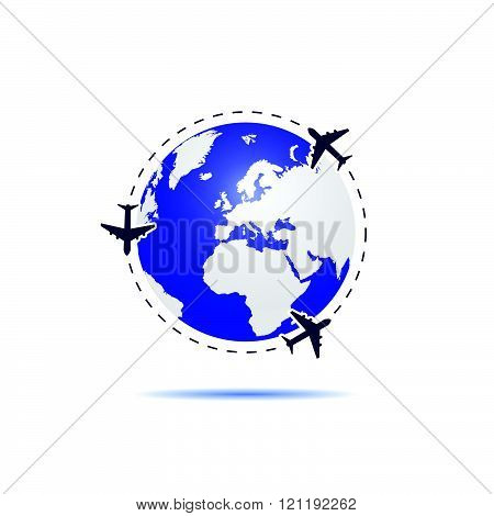 Planet Earth With Airplane Blue Illustration