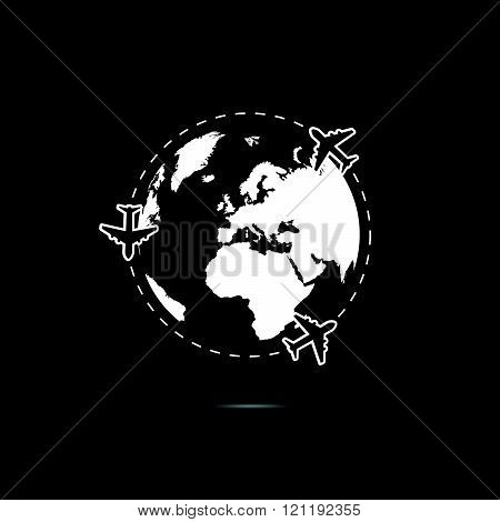 Planet Earth With Airplane White Illustration