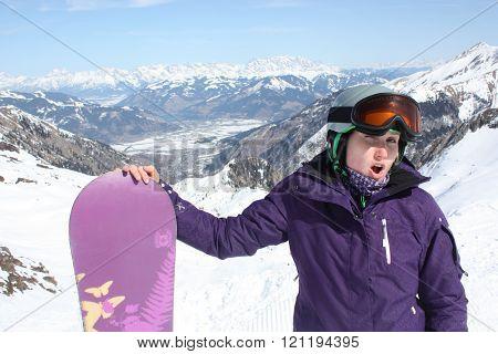 Young woman on the Kaprun, skiing resort in Austria.