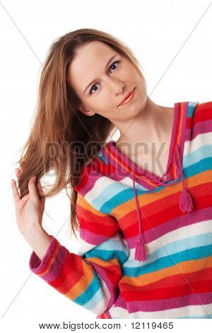 Bright Young Woman Plays With Her Long Hair