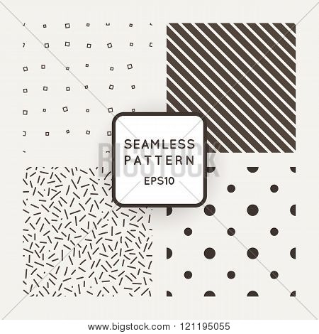 Set of vector seamless patterns of points, lines, diamonds and shavings