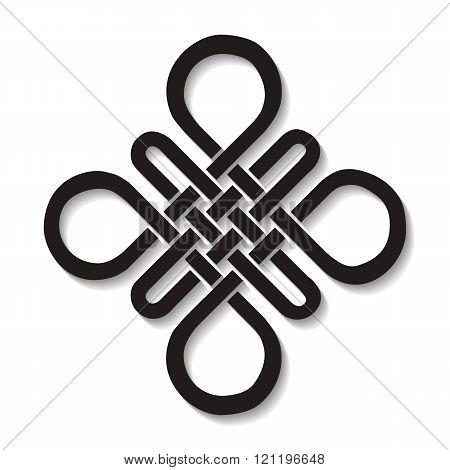Auspicious Endless knot.Buddhist symbol.Black