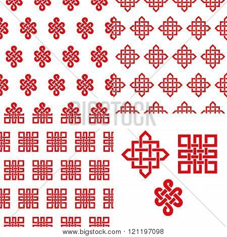 Auspicious Endless knots Chinese seamless pattern.Red
