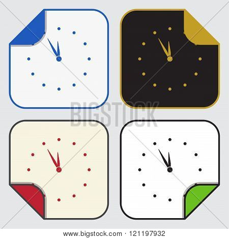Four Square Sticky Icons - Last Minute Clock