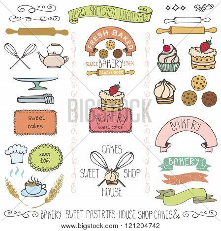 Bakery cakes Labels elements.Doodle logo template