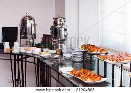 Continental breakfast in a hotel
