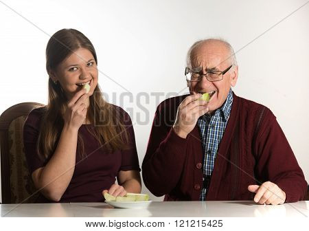 young woman and senior man