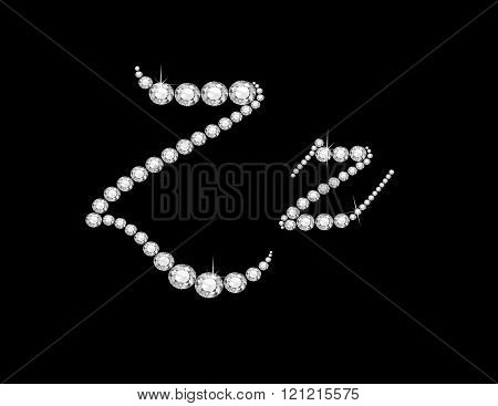 Zz Diamond Script Jeweled Font