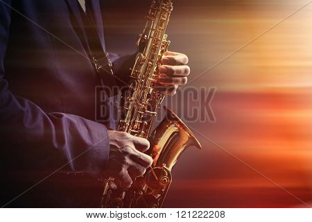 African American jazz musician playing the saxophone, closeup