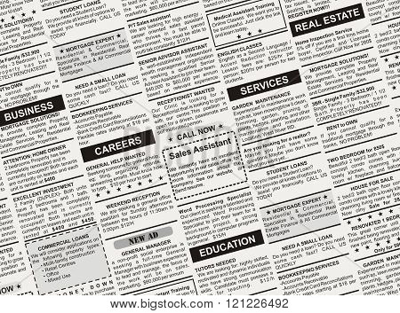 Classified Ad, fake newspaper for background use