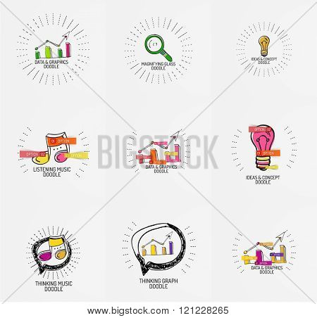 Vector set of hand drawn design elements in circles