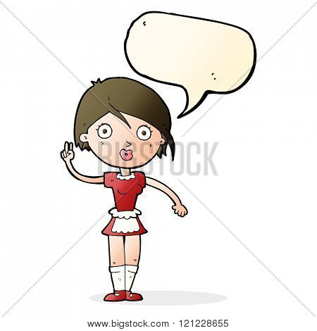 cartoon waitress making hand gesture with speech bubble