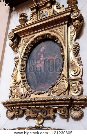 BOLOGNA, ITALY - JUNE 04: Virgin Mary with baby Jesus, altarpiece in San Petronio Basilica in Bologna, Italy, on June 04, 2015