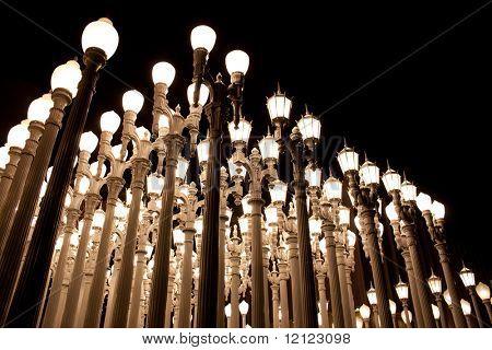A grid of street lights