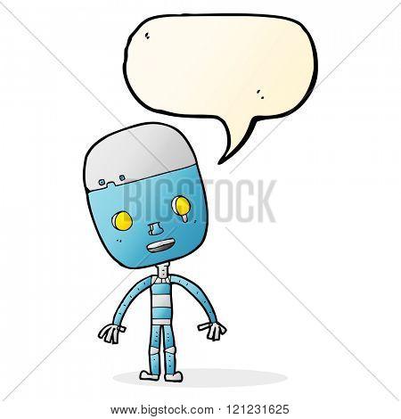 cartoon sad robot with speech bubble
