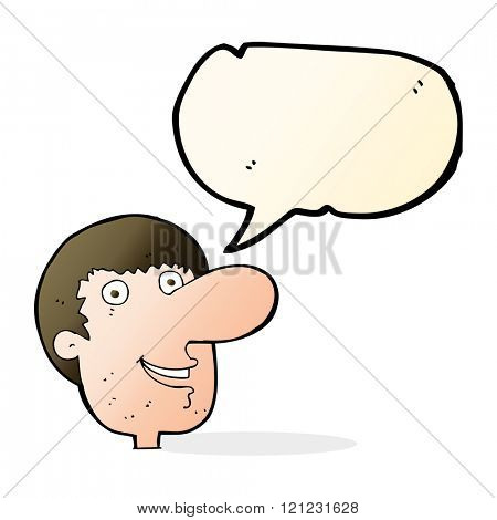 cartoon happy male face with speech bubble
