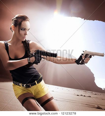 Lara Croft in action poster