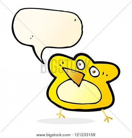 funny cartoon robin with speech bubble