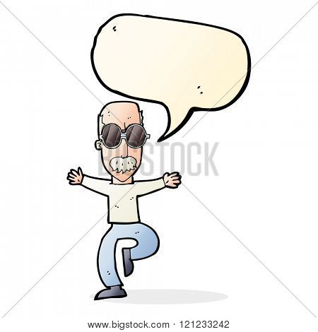 cartoon old man wearing big glasses with speech bubble