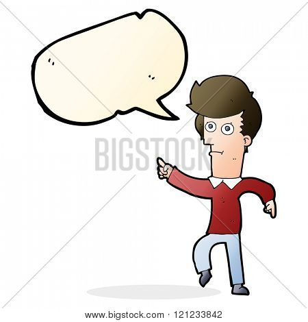 cartoon man pointing with speech bubble