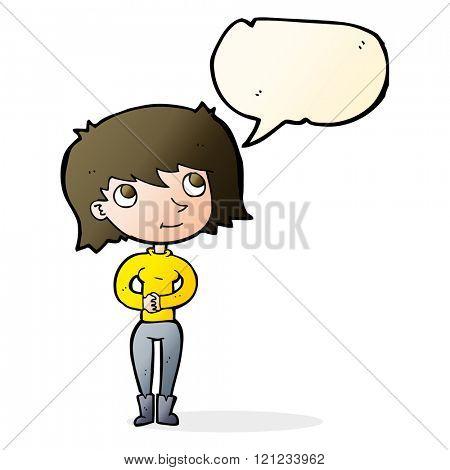 cartoon friendly woman with speech bubble
