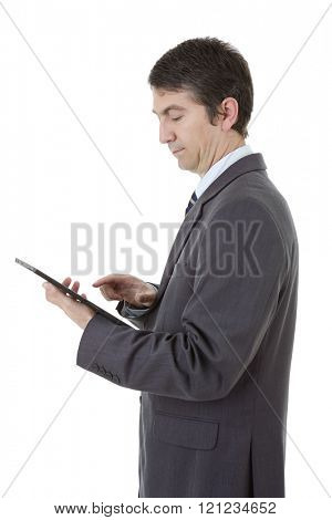 young businessman working with a tablet pc, isolated