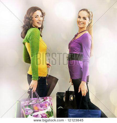 Two girls on shopping trip