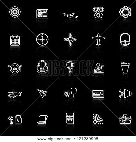 Air transport related line icons with reflect on black stock vector