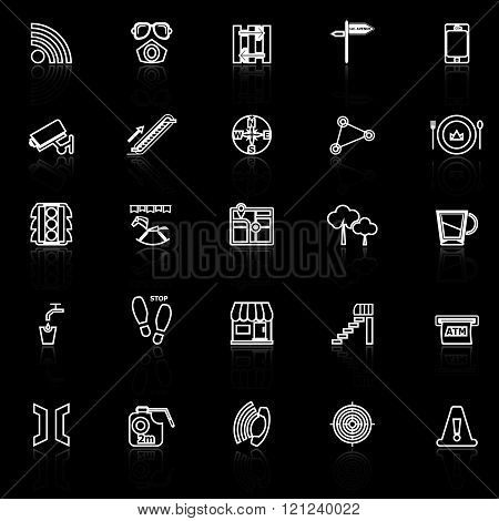 Pathway related line icons with reflect on black stock vector