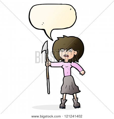 cartoon woman with harpoon with speech bubble