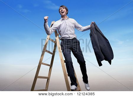 Successful businessman standing on a ladder , over blue sky background poster