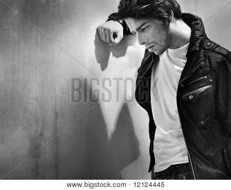 Black white portrait of a melancholic man